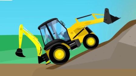 大眼睛卡通工程车 组装多功能挖掘机推土机 挖掘机清理路面障碍 休闲益智游戏