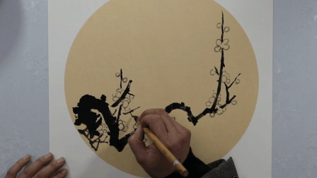 传统国画梅花画法, 淡墨画花, 浓墨勾蕊, 真漂亮