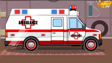 大眼睛卡通工程车 组装救护车 吊臂车帮助推土机过路
