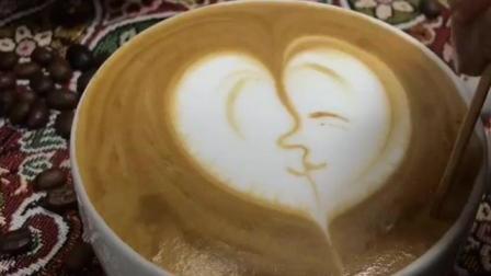 手绘爱心情侣接吻图案的咖啡拉花制作技巧