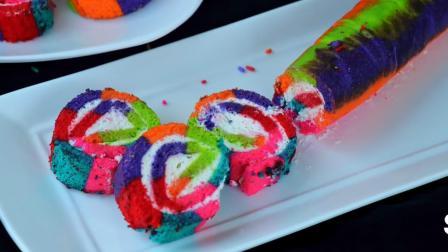 吃了那么多年的蛋糕卷, 五颜六色的彩虹蛋糕卷你吃过吗? 超诱人