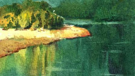 水彩风景教程-平湖流光
