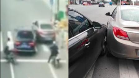 """礼让行人被后车催促 一句""""你撞我啊""""就真撞"""