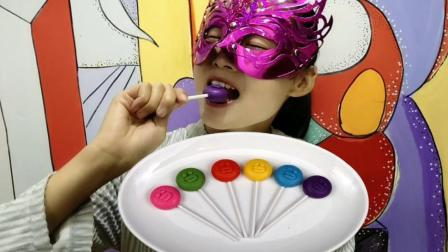 妹子试吃莎莉鸡棒棒糖巧克力, 可爱的卡通人物, 小朋友的超爱