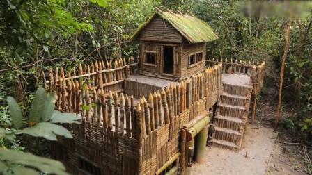 原始技术黑人小哥嫌原来房子小, 又开荒地建更大的房顶泳池(二)