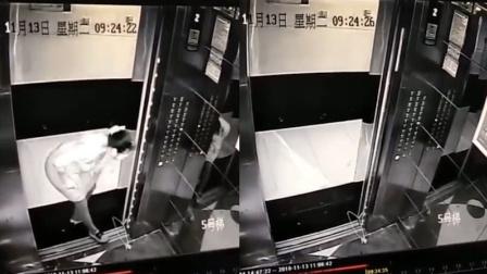 气愤!女子为了等人 用晾衣架挡门缝逼停电梯