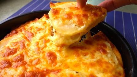 1块钱的土豆做了一个8寸的大披萨, 做法简单, 比买的实惠好吃