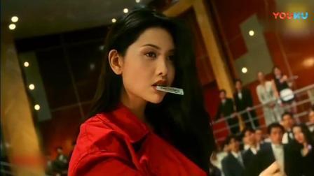 《赌神2》邱淑贞在发哥面前秀赌技, 一席红裙太漂亮了