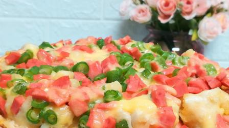 10分钟冬季快手早餐, 健康美味的蔬菜馒头披萨饼, 简单易做