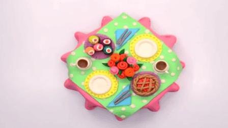 儿童工艺制作: DIY制作餐具 丰盛的晚餐五颜六色 纸杯蛋糕 咖啡 苹果派