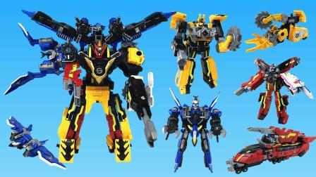 超大的巨神战击队三合体变形机器人玩具