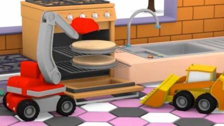 宝宝巴士之迷你卡车乐园 欢乐派对 挖掘机推土机制作蛋糕 起重机冰激凌车布置会场