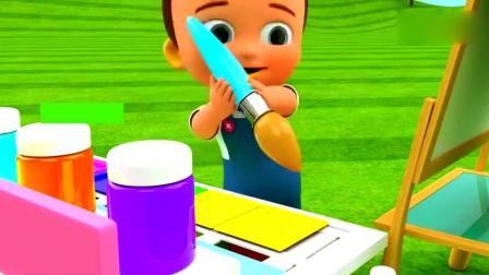 育儿英语启蒙早教, 3D卡通宝宝用毛笔蘸彩色染料写字母