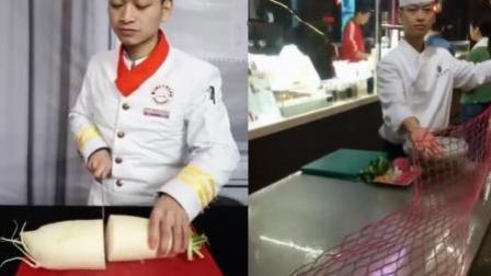 中国厨师秀刀工 把萝卜削成吃不起的形状