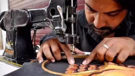 全球唯一的缝纫机艺术家, 用缝纫机画画, 画作精美似油画!