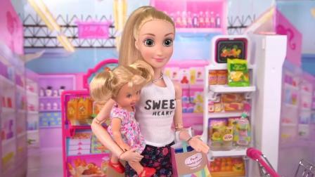 芭比公主之乐佩带着孩子逛超市