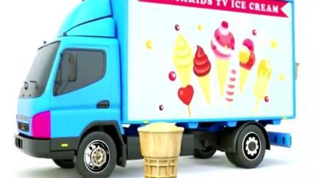 益智色彩英文学习, 蓝色货车卸下各种口味的甜筒冰激凌!