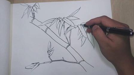 绘画入门教程, 竹子的画法, 一看就会哦!