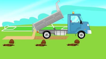 趣味益智动画片 挖掘机盖游乐场