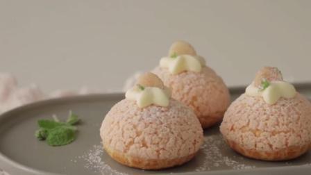 想吃奶油泡芙不用买! 教你在家做桃子馅的泡芙, 女儿天天吃不够