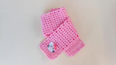 凯蒂猫儿童围巾编织,手工镂空围脖钩织视频教程