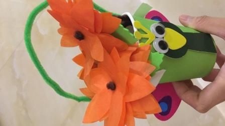 DIY手工艺 纸杯手工制作小动物花篮 独具创意 制作简单