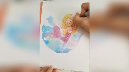 水彩画画绘画可爱美人鱼简笔画教学手帐教程