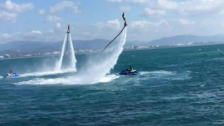这才是真正的水上火箭飞人, 利用高压喷水反作用力克服了地球引力