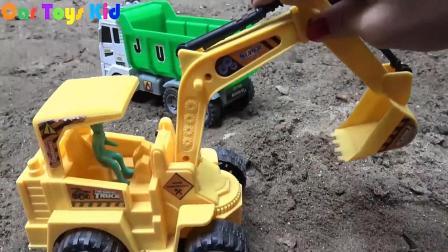 汽车挖掘机车和赛车玩具试玩, 婴幼儿宝宝玩具游戏视频A915