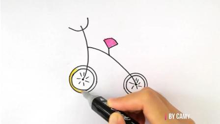 如何画自行车 - 让小宝宝一学就会的自行车简笔画