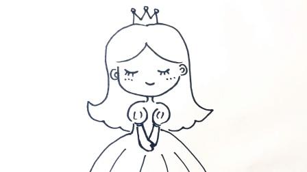 简笔画教程|学画可爱的小公主在手抄报手账本里, 大人小孩都能画
