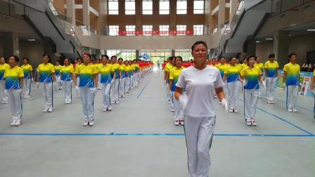 荆州梦之队表演大型团体健身操--梦九下肢运动