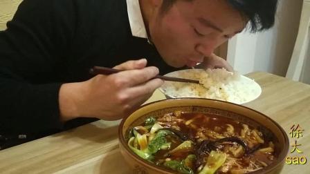 一斤牛肚, 半斤油, 小伙挑战红油牛肚, 米饭不够配馒头, 看饿了