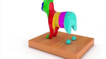 益智动画, 组装3d卡通猫学习色彩