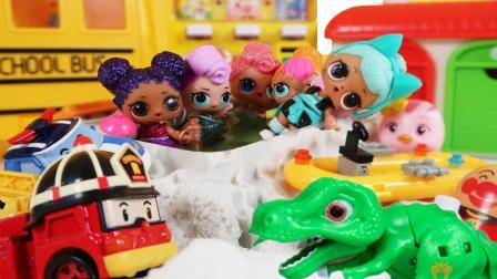 珀利汽车萌鸡小队LOL惊喜娃娃大集合玩水