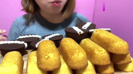 吃播奶油夹心巧克力糖霜杯子蛋糕奶油夹心黄金海绵小蛋糕