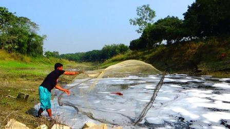 农村青年野外河里捕鱼, 撒网技术真不错, 看看收获了多少?
