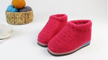 雅馨绣坊编织视频第二十集花式棉鞋两边的织法超漂亮的手工钩织