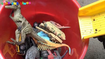 亮亮玩具恐龙发现汽车垃圾车玩具, 婴幼儿宝宝游戏玩具视频B415