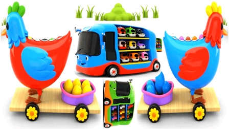 儿童玩具学英语快乐小鸡玩具彩蛋惊喜汽车总动员小公交儿童英语