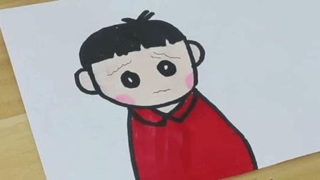 简笔画: 看看委屈的小朋友是怎么画的吧! 粉色脸蛋非常可爱还简单