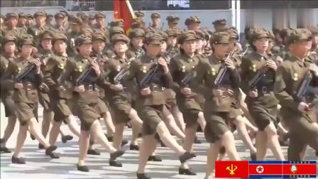 实拍北韩女兵和朝鲜女兵阅兵现场, 精神抖擞, 气势逼人