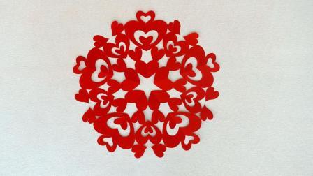 感恩的心剪纸, 爱心图案通过大小疏密的不同组合, 体现不同的美感