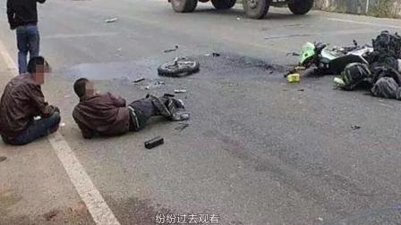 男子一心求死, 高速碰瓷摩托车, 监控拍下生命最后5秒!