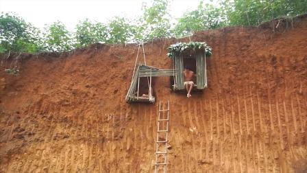 兄弟俩20米悬崖壁上建房子, 上下都要梯子, 山体滑坡可咋办