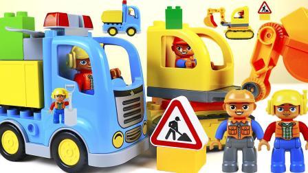 最新挖掘机和卡车乐高儿童玩具车