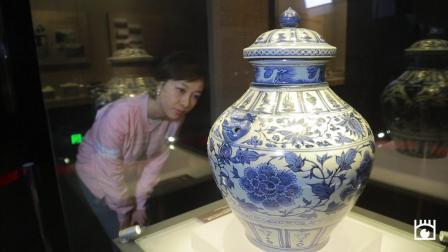 《蚌埠博物馆》镇馆之宝之青花缠枝牡丹纹兽耳盖罐