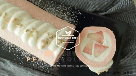 桃子蛋糕卷——软嫩香甜, 包含颗颗果肉 Peach Roll Cake