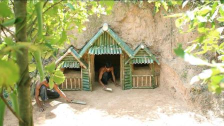 野外求生, 两兄弟山坡下挖山洞庇护所, 冬暖夏凉住着很舒服!