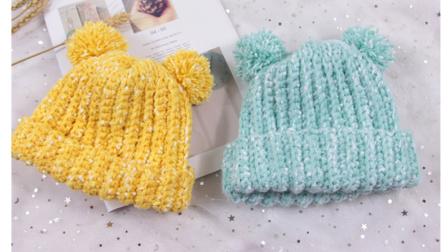 【芸妈手作A74】点点绒球帽子儿童宝宝双毛球可爱帽子钩针新手编织教学视频